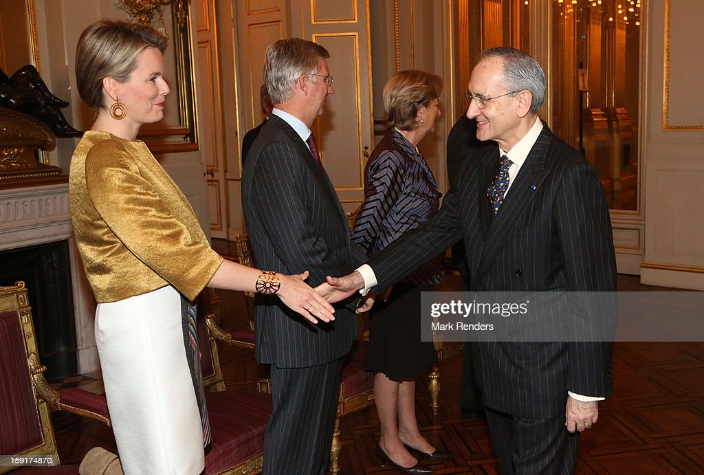 Princess Mathilde and Prince Philippe of Belgium meet Spanish Ambassador Ignacio Jesus Matellanes Martinez during a New Year reception at Palais de Bruxelles on January 9, 2013 in Brussel, Belgium.