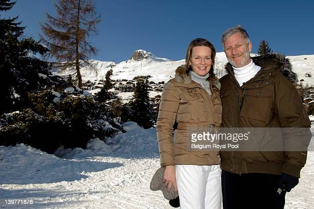 Princess Mathilde and Prince Philippe of Belgium pictured during their skiing holiday on February 17 2012 in Verbier Switzerland