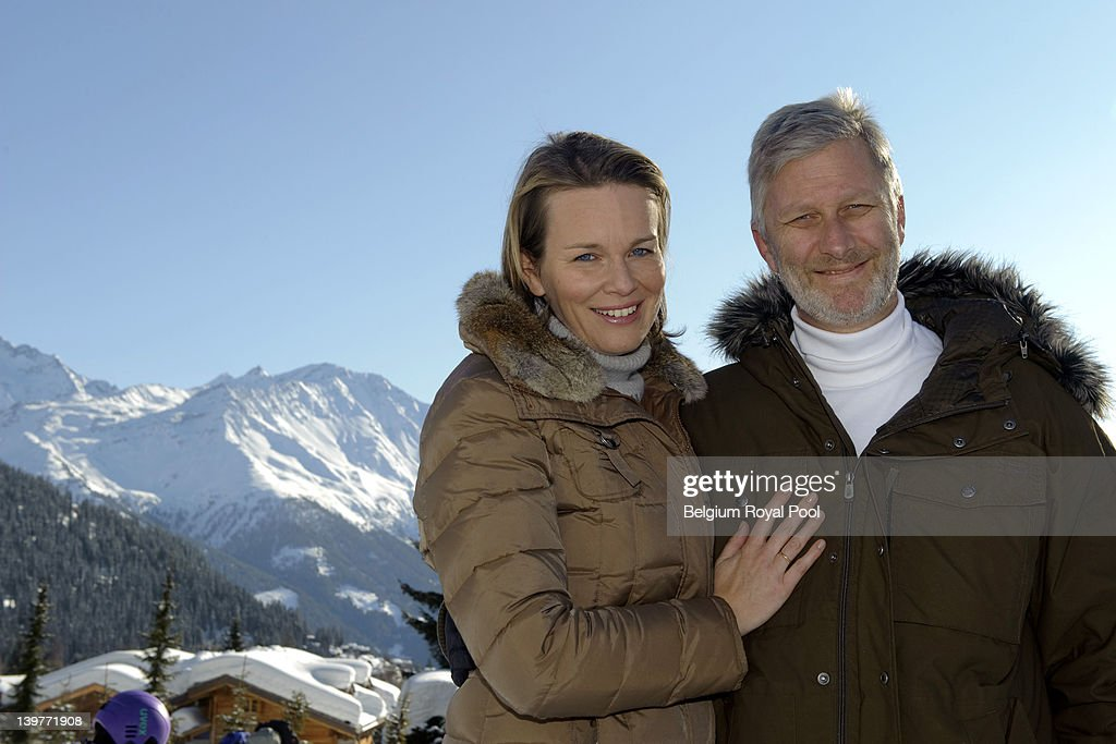Princess Mathilde and Prince <a gi-track='captionPersonalityLinkClicked' href=/galleries/search?phrase=Philippe+of+Belgium&family=editorial&specificpeople=160209 ng-click='$event.stopPropagation()'>Philippe of Belgium</a> pictured during their skiing holiday on February 17, 2012 in Verbier, Switzerland.