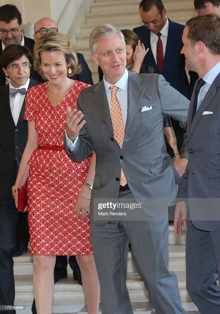 Princess Mathilde and Prince <a gi-track='captionPersonalityLinkClicked' href=/galleries/search?phrase=Philippe+of+Belgium&family=editorial&specificpeople=160209 ng-click='$event.stopPropagation()'>Philippe of Belgium</a> receive members of COMORI at Laeken Castle on July 8, 2013 in Brussels, Belgium.