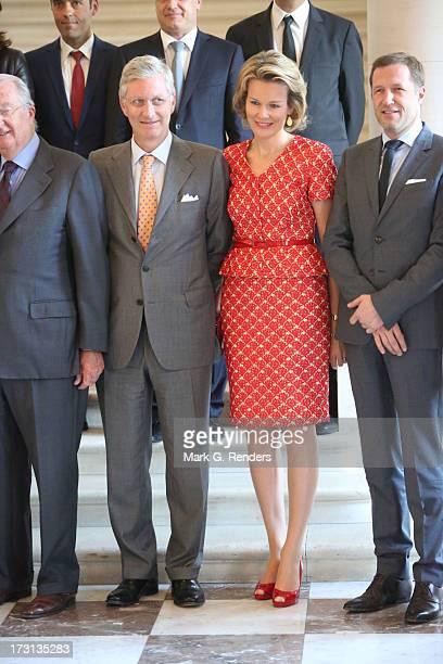 Princess Mathilde and Prince Philippe of Belgium receive members of COMORI at Laeken Castle on July 8 2013 in Brussels Belgium