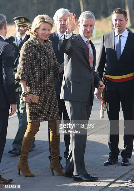 Princess Mathilde and Prince Philippe of Belgium visit milk products company Olympia at Herfelingen on March 5 2013 in Gooik Belgium
