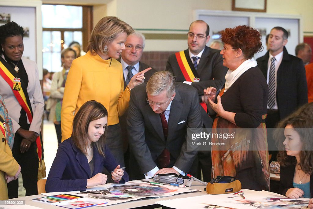 Princess Mathilde and Prince <a gi-track='captionPersonalityLinkClicked' href=/galleries/search?phrase=Philippe+of+Belgium&family=editorial&specificpeople=160209 ng-click='$event.stopPropagation()'>Philippe of Belgium</a> visit the CEPES School on December 20, 2012 in Jodoigne, Belgium.