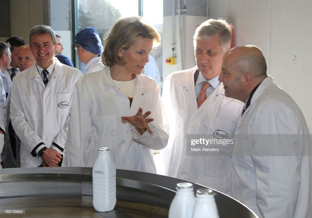 Princess Mathilde and Prince <a gi-track='captionPersonalityLinkClicked' href=/galleries/search?phrase=Philippe+of+Belgium&family=editorial&specificpeople=160209 ng-click='$event.stopPropagation()'>Philippe of Belgium</a> visit the milk products company, Olympia at Herfelingen on March 5, 2013 in Gooik, Belgium.