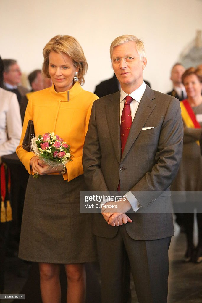 Princess Mathilde and Prince <a gi-track='captionPersonalityLinkClicked' href=/galleries/search?phrase=Philippe+of+Belgium&family=editorial&specificpeople=160209 ng-click='$event.stopPropagation()'>Philippe of Belgium</a> visit the Townhall on December 20, 2012 in Jodoigne, Belgium.