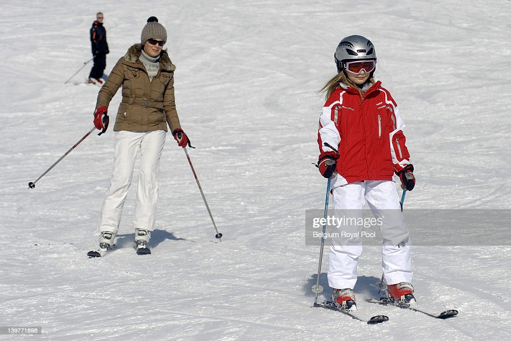 Princess Mathilde and <a gi-track='captionPersonalityLinkClicked' href=/galleries/search?phrase=Princess+Elisabeth+of+Belgium&family=editorial&specificpeople=763412 ng-click='$event.stopPropagation()'>Princess Elisabeth of Belgium</a> pictured during their skiing holiday on February 17, 2012 in Verbier, Switzerland.