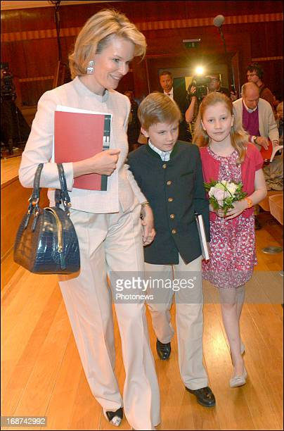 Princess Mathilde Duchess of Brabant and her children Princess Elisabeth and Prince Gabriel attend the Queen Elisabeth Countest on May 14 2013 in...