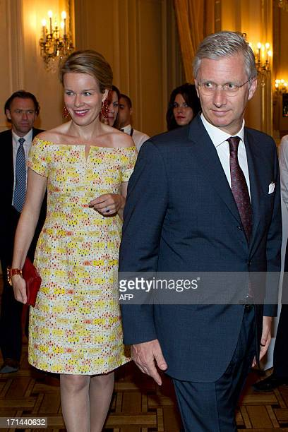Princess Mathilde of Belgium and Crown Prince Philippe of Belgium arrive for a concert on the occasion of the accession of Croatia to the European...