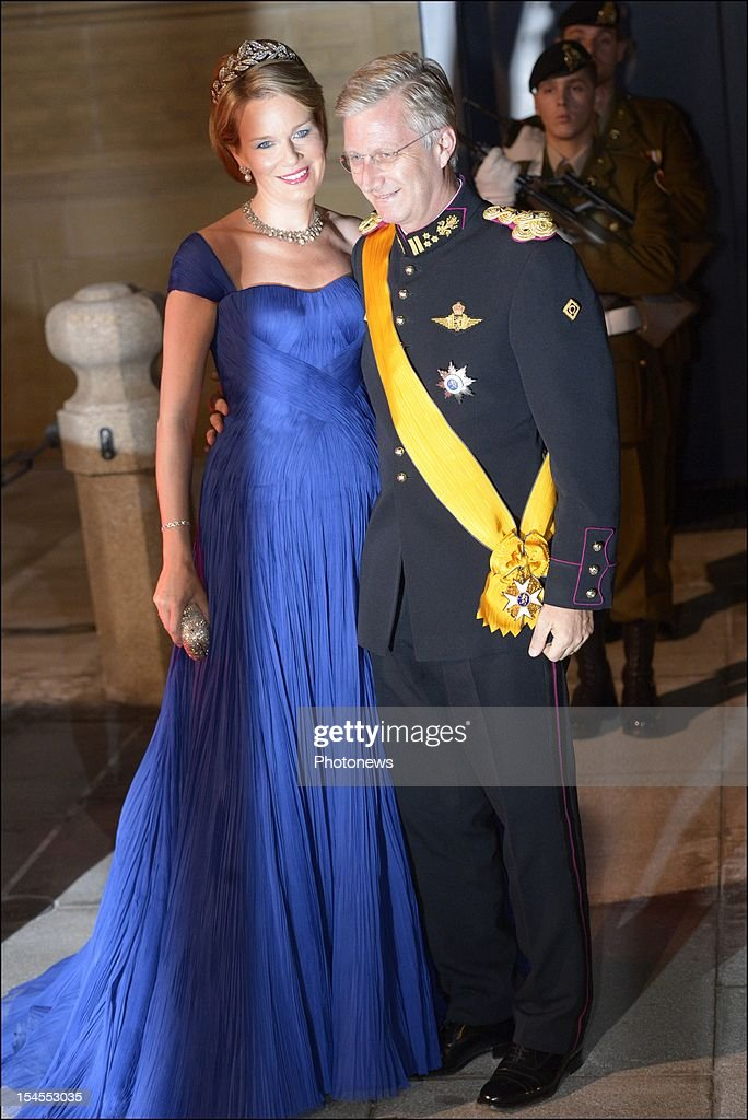 Princess Mathilde of Belgium and Prince <a gi-track='captionPersonalityLinkClicked' href=/galleries/search?phrase=Philippe+of+Belgium&family=editorial&specificpeople=160209 ng-click='$event.stopPropagation()'>Philippe of Belgium</a> arrive at the Gala Dinner for the wedding of Prince Guillaume Of Luxembourg and Stephanie de Lannoy at the Hotel De Ville on October 19.2012 in Luxembourg. The 30-year-old hereditary Grand Duke of Luxembourg is the last hereditary Prince in Europe to get married, marrying his 28-year old Belgian Countess bride in a lavish 2-day ceremony.