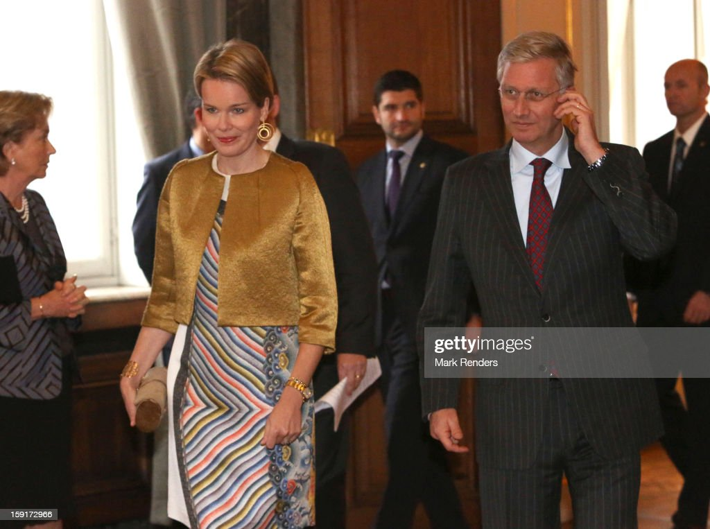 Princess Mathilde of Belgium and Prince <a gi-track='captionPersonalityLinkClicked' href=/galleries/search?phrase=Philippe+of+Belgium&family=editorial&specificpeople=160209 ng-click='$event.stopPropagation()'>Philippe of Belgium</a> attend a New Year Reception at Palais de Bruxelles on January 9, 2013 in Brussel, Belgium.