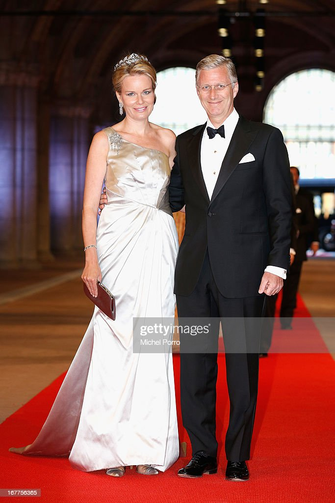 Princess Mathilde of Belgium (L) and Prince Philippe of Belgium (R) attend a dinner hosted by Queen Beatrix of The Netherlands ahead of her abdication at Rijksmuseum on April 29, 2013 in Amsterdam, Netherlands.