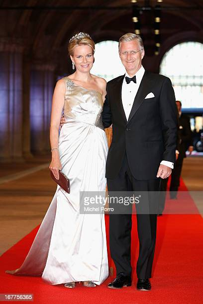 Princess Mathilde of Belgium and Prince Philippe of Belgium attend a dinner hosted by Queen Beatrix of The Netherlands ahead of her abdication at...