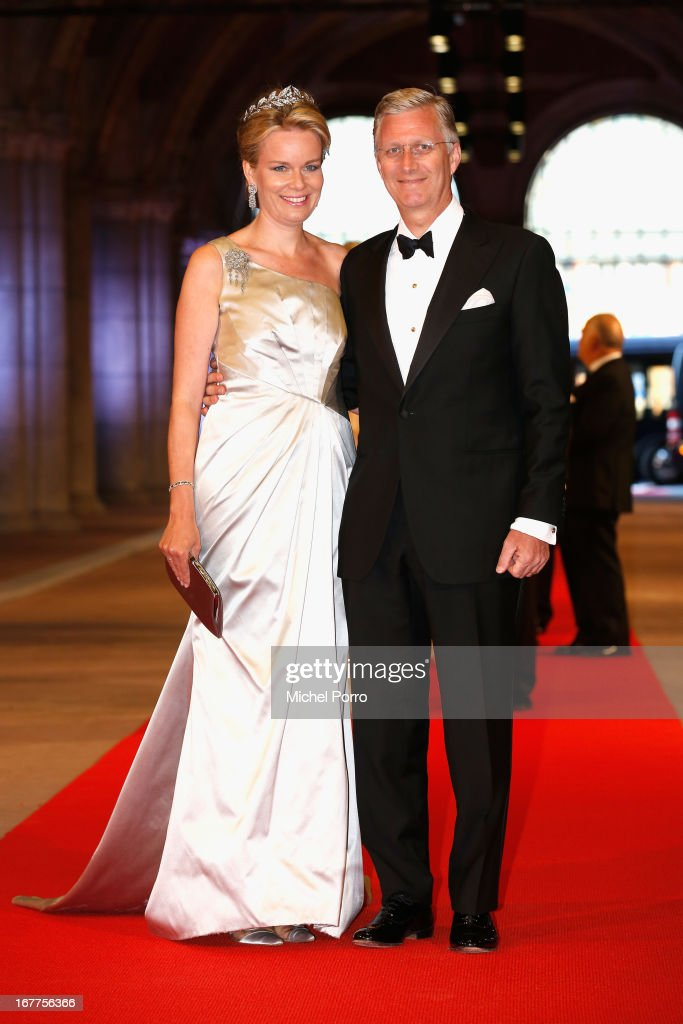 Princess Mathilde of Belgium (L) and Prince <a gi-track='captionPersonalityLinkClicked' href=/galleries/search?phrase=Philippe+of+Belgium&family=editorial&specificpeople=160209 ng-click='$event.stopPropagation()'>Philippe of Belgium</a> (R) attend a dinner hosted by Queen Beatrix of The Netherlands ahead of her abdication at Rijksmuseum on April 29, 2013 in Amsterdam, Netherlands.