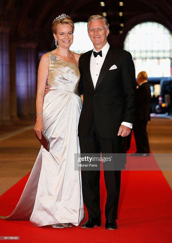 Princess Mathilde of Belgium and Prince <a gi-track='captionPersonalityLinkClicked' href=/galleries/search?phrase=Philippe+of+Belgium&family=editorial&specificpeople=160209 ng-click='$event.stopPropagation()'>Philippe of Belgium</a> attend a dinner hosted by Queen Beatrix of The Netherlands ahead of her abdication at Rijksmuseum on April 29, 2013 in Amsterdam, Netherlands.