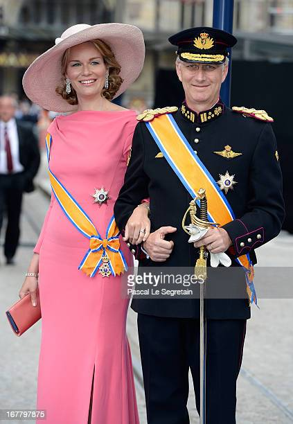 Princess Mathilde of Belgium and Prince Philippe of Belgium depart the Nieuwe Kerk to return to the Royal Palace after the abdication of Queen...