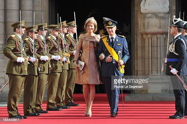 Princess Mathilde of Belgium and Prince Philippe of Belgium emerge from the Cathedral following the wedding ceremony of Prince Guillaume Of...