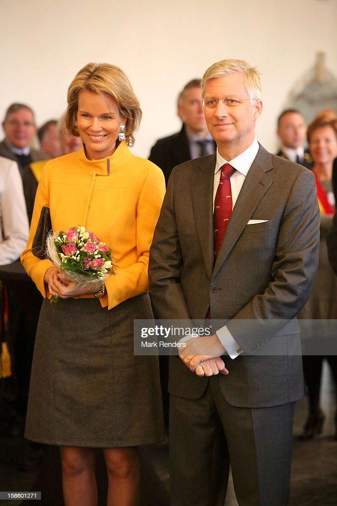 Princess Mathilde (L) of Belgium and Prince Philippe of Belgium visit the Townhall on December 20, 2012 in Jodoigne, Belgium.