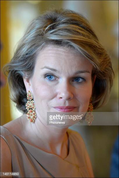 Princess Mathilde of Belgium attends a lunch for the jury of Queen Elisabeth Competition at the Royal Castle on May 23 2012 in Brussels Belgium Queen...