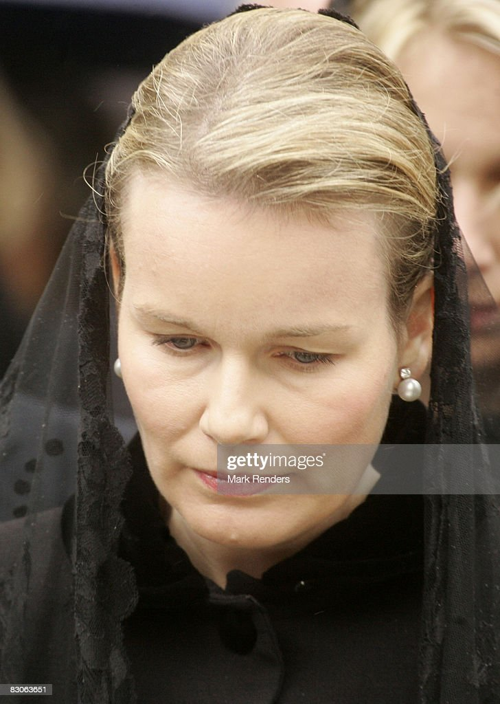 Princess Mathilde of Belgium attends the funeral of her father Patrick d'Udekem d'Acoz at Saint Pierre Church on September 30, 2008 in Bastogne, Belgium.