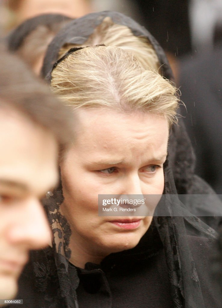 Princess Mathilde of Belgium attends the funeral of Patrick d'Udekem d'Acoz, Princess Mathilde's Father at Saint Pierre Church on September 30, 2008 in Bastogne, Belgium.