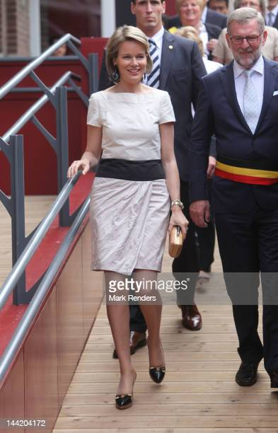 Princess Mathilde of Belgium attends 'the golden age of China treasures of the Tang Dynasty' exhibition at Minderbroederskerk on May 11 2012 in...