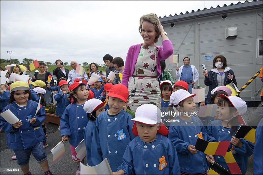 Princess Mathilde of Belgium during a visit to the Himamari community: temporary housing unit for victims of the tsunami on June 13, 2012 in Sendai, Japan. Prince Philippe and Princess Mathilde of Belgium are visiting Japan to strengthen economic and bilateral ties between Belgium and Japan.