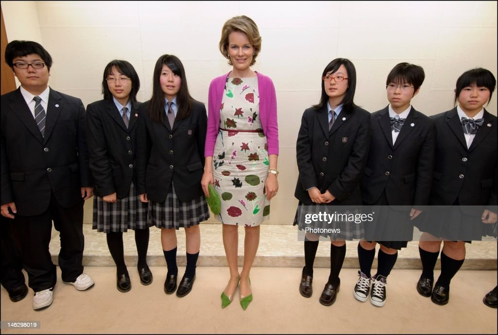 Princess Mathilde of Belgium during her visit of the city of Sendai where she met local students who are taking part in the project 'Building International Bridges' on June 13, 2012 in Sendai, Japan. Prince Philippe and Princess Mathilde of Belgium are visiting Japan to strengthen economic and bilateral ties between Belgium and Japan.