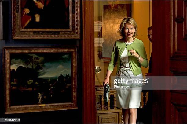 Princess Mathilde of Belgium during her visit of the exhibition 'Het Gulden Cabinet' on June 4 2013 in Antwerpen Belgium