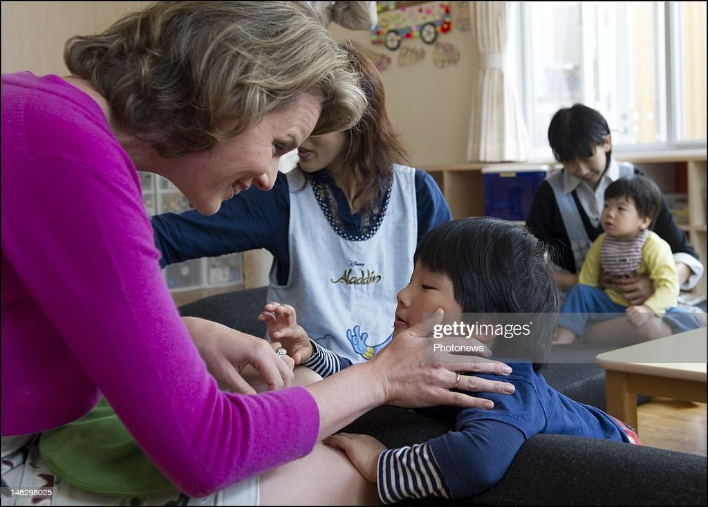 Princess Mathilde of Belgium during her visit to the Lasalle Home orphenage on June 13, 2012 in Sendai, Miyagi Prefecture, Japan. Prince Philippe and Princess Mathilde of Belgium are visiting Japan to strengthen economic and bilateral ties between Belgium and Japan.