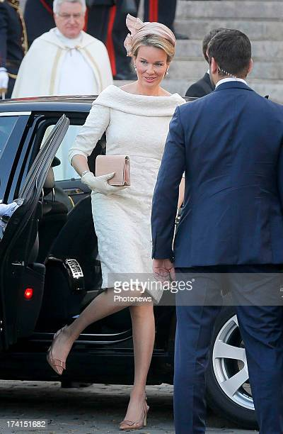 Princess Mathilde of Belgium during the Abdication Of King Albert II Of Belgium Inauguration Of King Philippe at the Cathedral of St Michael and St...