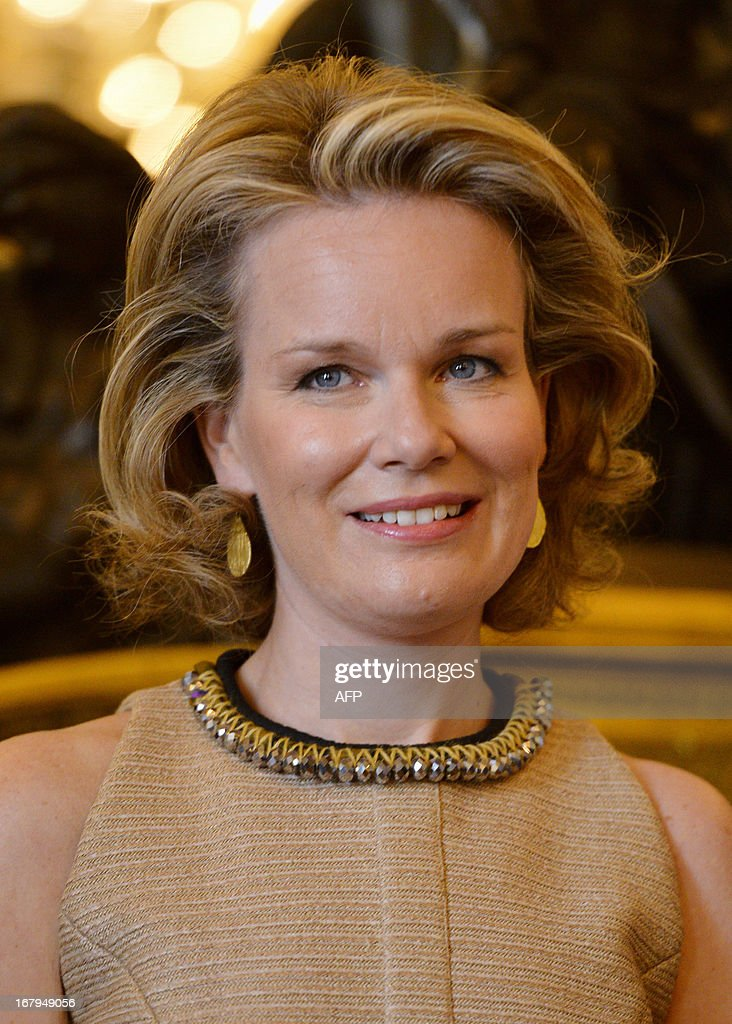 Princess Mathilde of Belgium is pictured at the Princess Mathilde award giving ceremony, in Brussels' Royal Palace, on May 3, 2013. The Princess Mathilde award is focused this year on the role of fathers in education. AFP PHOTO / BELGA / ERIC LALMAND Belgium Out