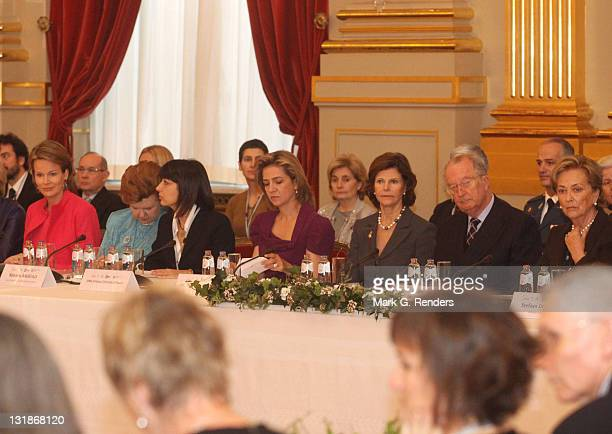 Princess Mathilde of Belgium Madame Vaira Vike Freiberga Madame Roberta Angelilli Princess Cristina of Spain Queen Silvia of Sweden King Albert of...