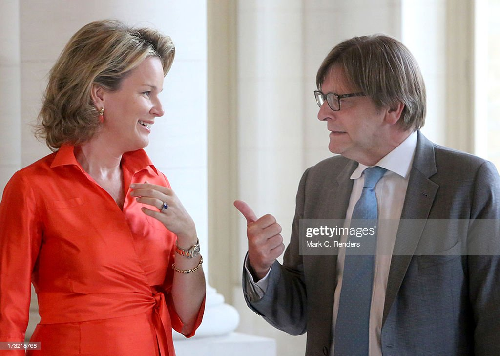 Princess Mathilde of Belgium meets with former Belgian Prime Ministers, including <a gi-track='captionPersonalityLinkClicked' href=/galleries/search?phrase=Guy+Verhofstadt&family=editorial&specificpeople=221697 ng-click='$event.stopPropagation()'>Guy Verhofstadt</a> (R) at Laeken Castle on July 10, 2013 in Brussels, Belgium.
