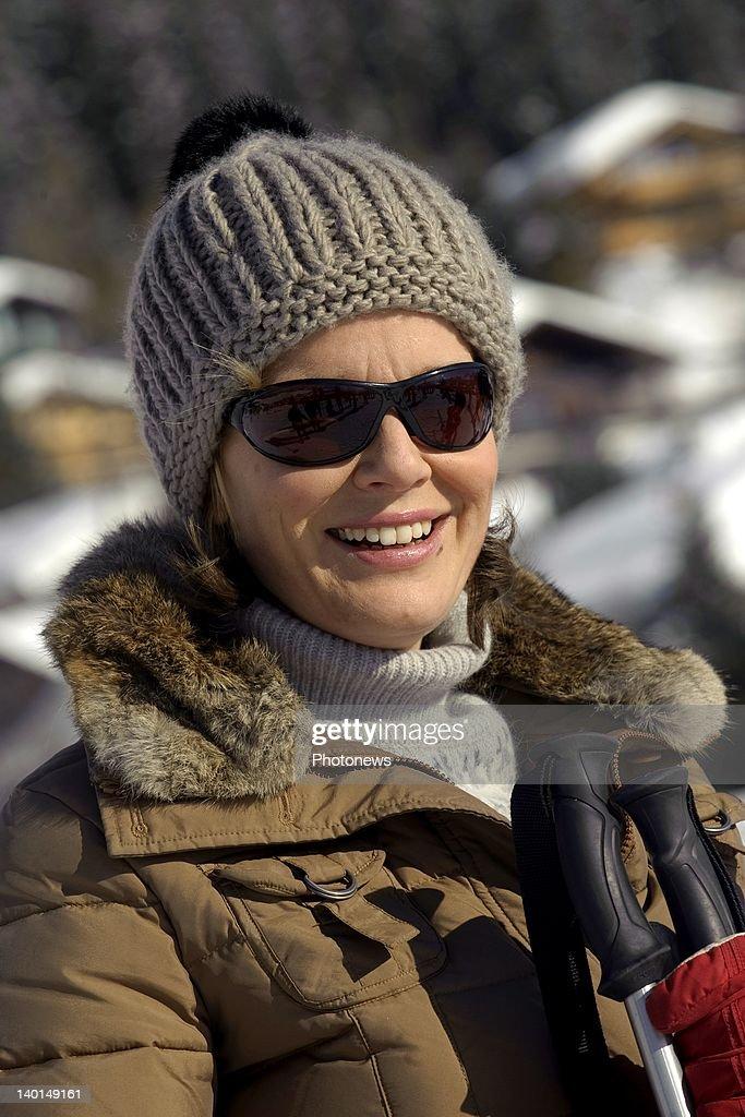 VERBIER , SWITZERLAND - FEBRUARY 22, 2012: Princess Mathilde of Belgium on the ski slopes during the Royal Family Skiing Holiday on February 22,2012 in Verbier,Switzerland.