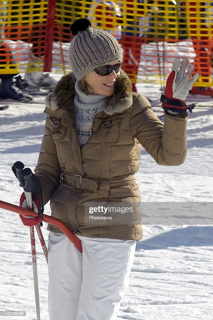 VERBIER , SWITZERLAND - FEBRUARY 22, 2012: Princess Mathilde of Belgium on the ski slopes during the Royal Family Skiing Holiday on February 22,2012 in Verbier,Switzerland.