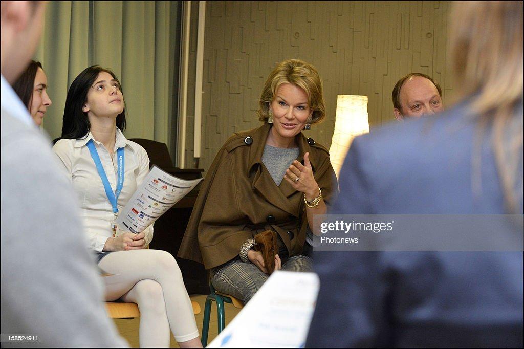 Princess Mathilde of Belgium pictured during her visit to the Koninklijk Atheneum/Centrum Leren en Werken school on December 18, 2012 in Leuven, Belgium.