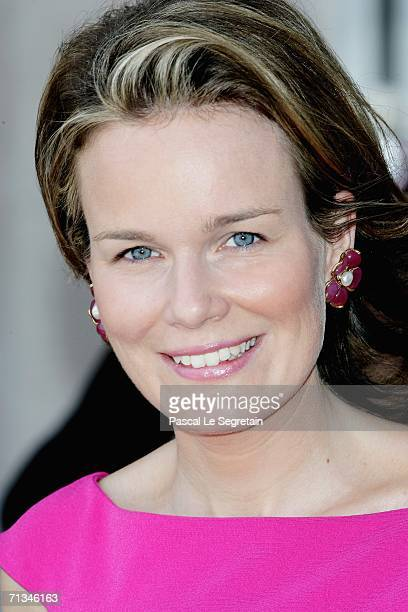 Princess Mathilde of Belgium poses as she arrives to attend the inauguration of the Modern Art Museum Grand Duke Jean on July 1 2006 in Luxembourg as...