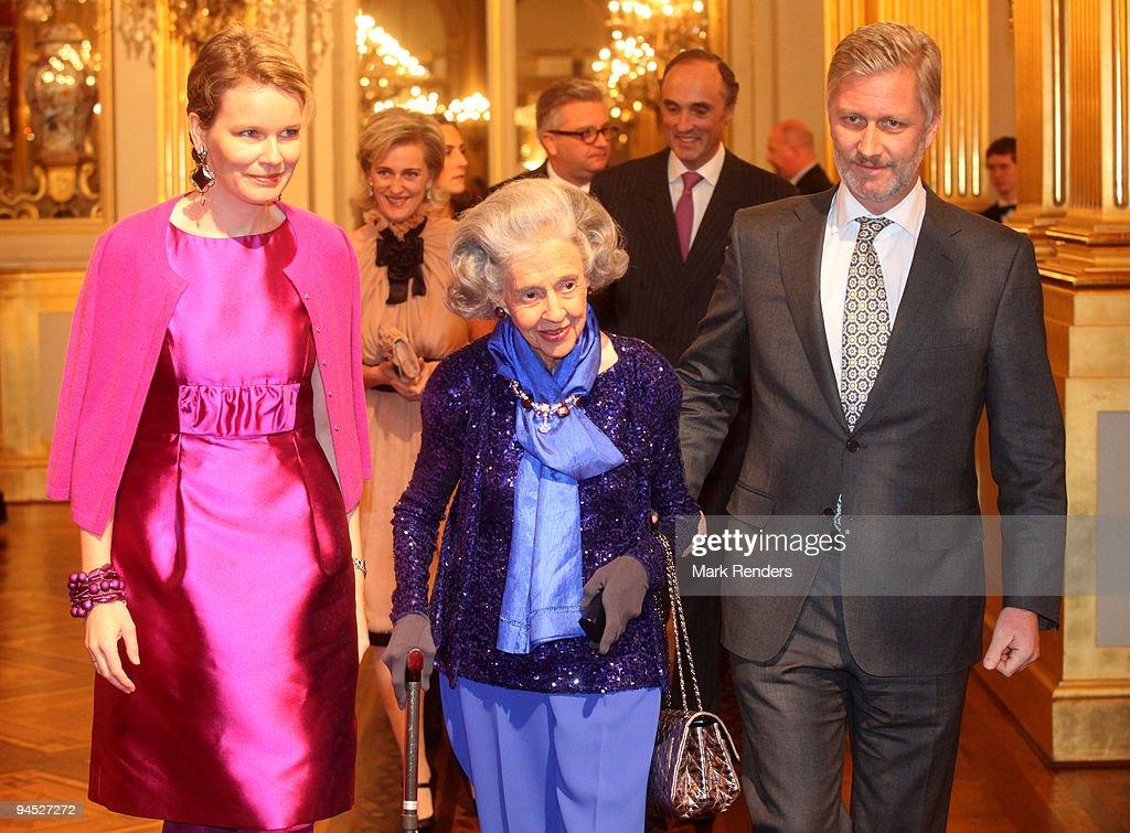 Princess Mathilde of Belgium Princess Astrid of Belgium Queen Fabiola of Belgium Prince Lorenz of Belgium and Prince Philippe of Belgium assist in a...