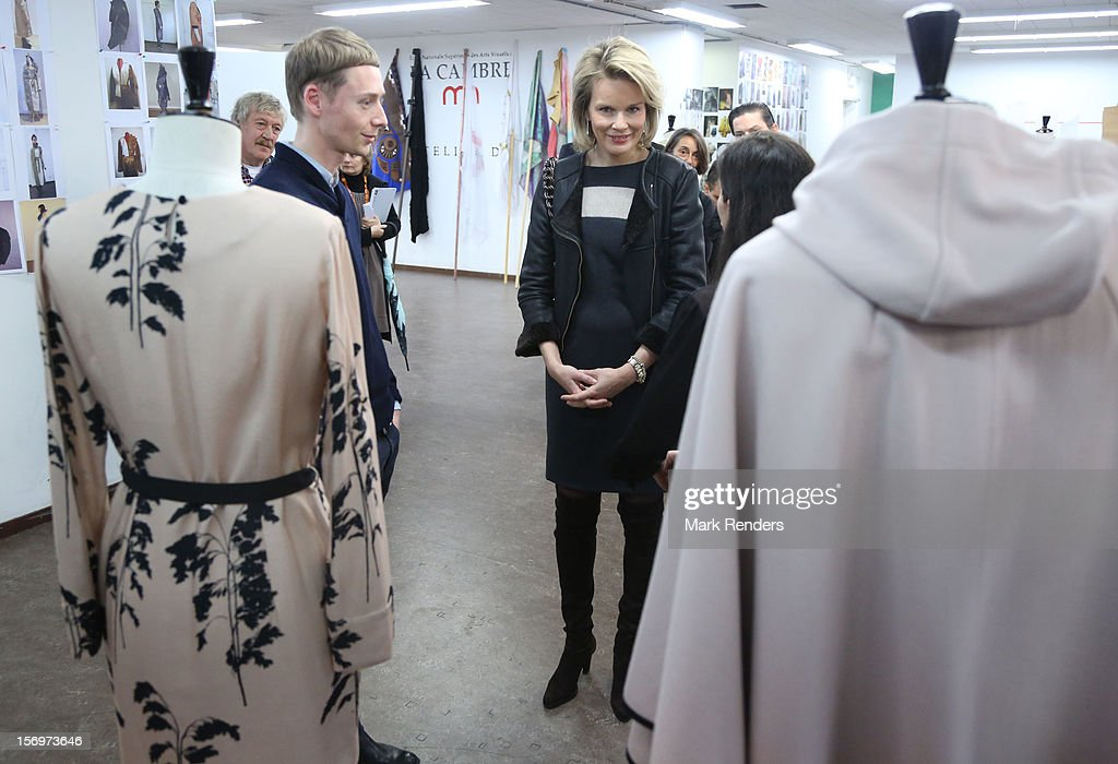 Princess Mathilde of Belgium talks to a student during a visit at the ENSAV Arts Academy on November 26, 2012 in Brussels, Belgium.