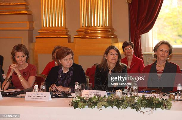 Princess Mathilde of Belgium Vaira VikeFreiberga Madame Margerida Barroso and Queen Paoala of Belgium attend a conference about ' Vulnerable children...