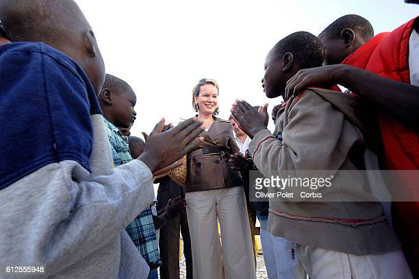 Princess Mathilde of Belgium visits a center for street kids and talks with locals following a televised interview during her official fourday visit...