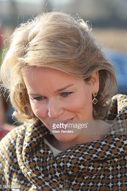Princess Mathilde of Belgium visits milk products company Olympia at Herfelingen on March 5 2013 in Gooik Belgium