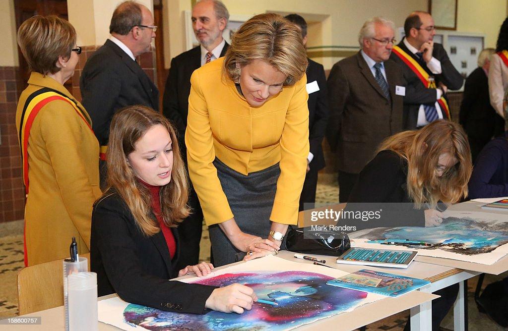 Princess Mathilde of Belgium visits the CEPES School on December 20, 2012 in Jodoigne, Belgium.