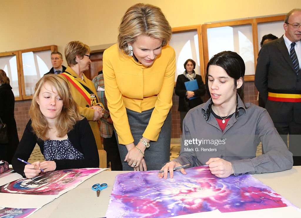 Princess Mathilde of Belgium visits the CEPES School on December 20, 2012 in Jodoigne, Belgium.