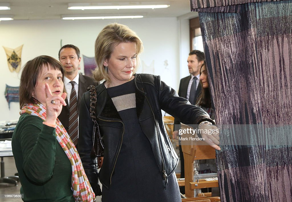 Princess Mathilde of Belgium visits the ENSAV Arts Academy on November 26, 2012 in Brussels, Belgium.