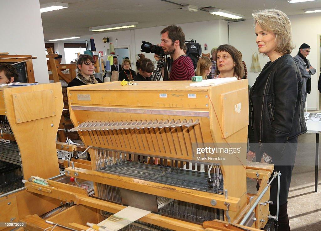 Princess Mathilde of Belgium visits the ENSAV Arts Academy on November 26, 2012 in Brussels, Belgium.