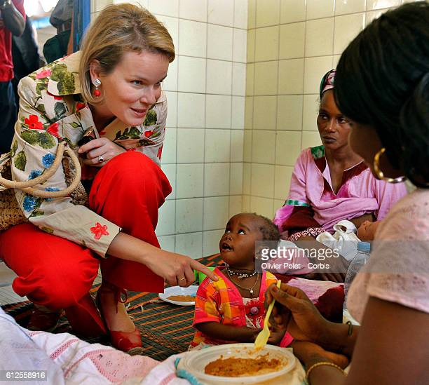 Princess Mathilde of Belgium visits the King Baudouin Hospital in Dakar while on an official fourday visit in Senegal within the framework of an...