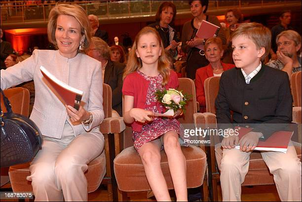 Princess Mathilde of Belgium with her children Princess Elisabeth and Prince Gabriel as they attend the Queen Elisabeth Musical Contest on May 15...