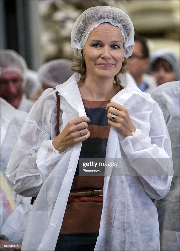 Princess Mathilde pictured visiting the 'Cafe Liegeois' firm that produces a fair trade coffee, on October 5, 2012 in Battice, Belgium.