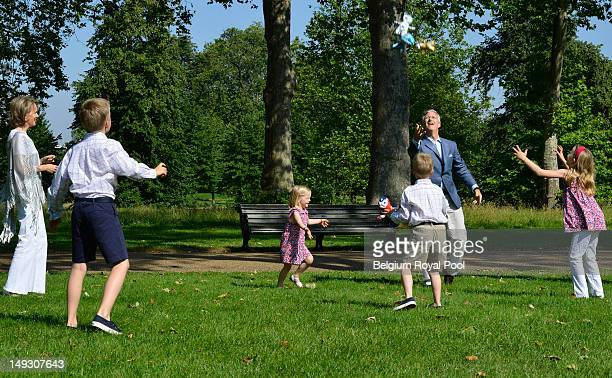 Princess Mathilde Prince Gabriel Princess Eleonore Prince Emmanuel and Prince Philippe of Belgium pose for a photo during a visit to central London...